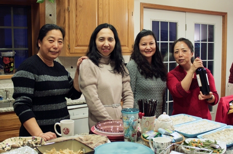 Moms watching over the rest of the grub (Yawen's family had prior engagements)