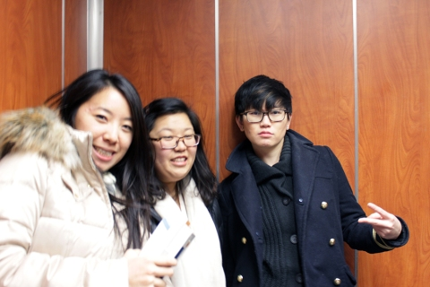 In the elevator. Xixi's so cool